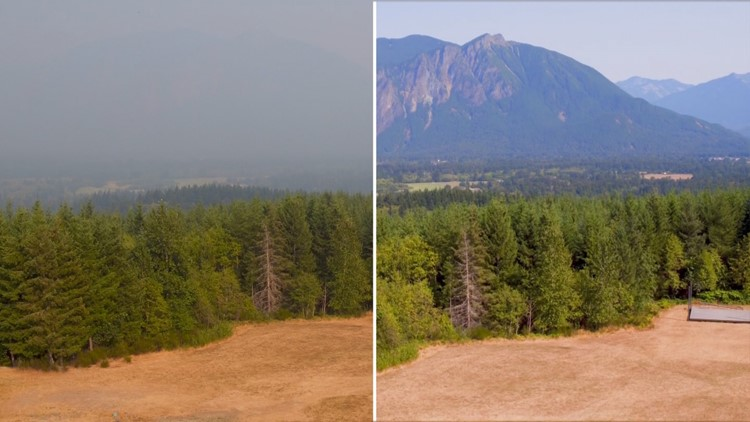 Drone footage captures smoky comparison over Issaquah