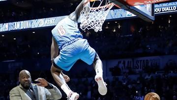 OKC's Diallo leaps over Shaq to win dunk contest