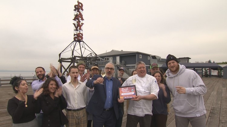"Ray's Boathouse staff whoop it up after receiving the ""Best Date Night"" Award for ""Evening's"" Best of Western Washington viewers' poll."