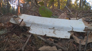 Ketron Island still littered with debris after stolen plane crash