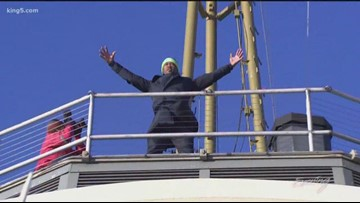 Raising the 12th Man Flag with Lawyer Milloy - KING 5 Evening