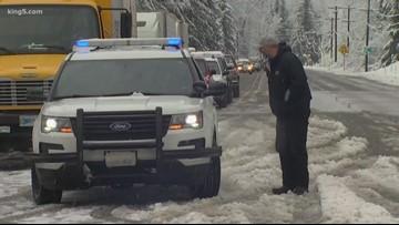 State trooper on US 2 closure