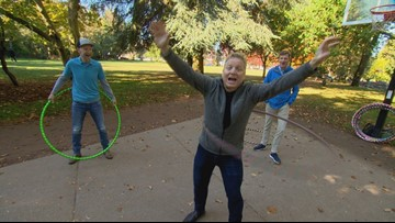 Evening hosts take Hula Hoop Lessons - Field Trip Friday