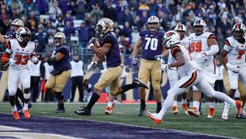 No. 17 Huskies build big lead, beats Oregon State 42-23