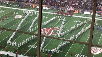 WSU band plays UW fight song at Apple Cup after bus crash