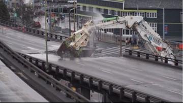 Parts of viaduct demolished near Seattle Aquarium on Wednesday