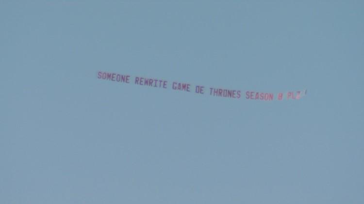 GOT -banner flying over Seattle