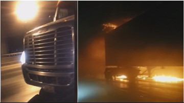 Witness describes moments before fiery semi-truck crash on I-5 in Seattle