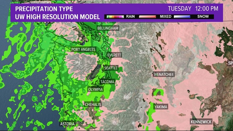 Precipitation for noon Tuesday
