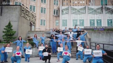 Harborview staff demonstrates social distancing