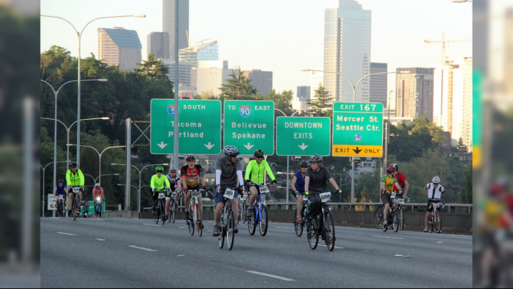 Cyclists rode along I-5 during last year's Emerald City Ride. Photo courtesy of Cascade Bicycle Club.