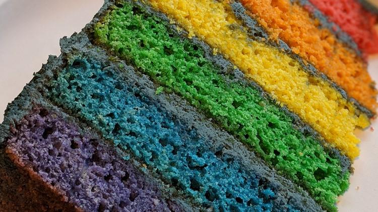 Rainbow cake at Depressed Cake Shop