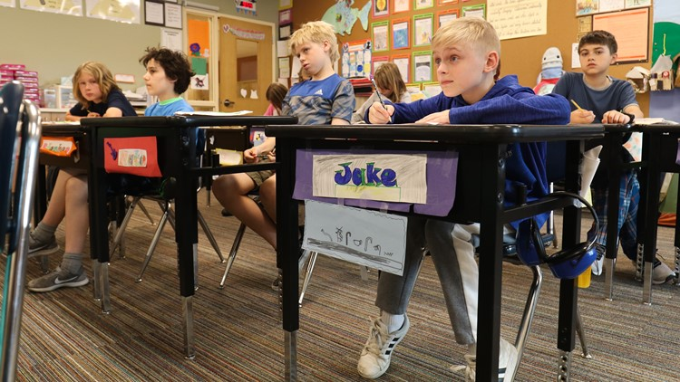 Jake Vandell, 11, pays attention to a lesson in his fifth-grade class at Hamlin Robinson School on June 1, 2018. (Taylor Mirfendereski   KING 5)