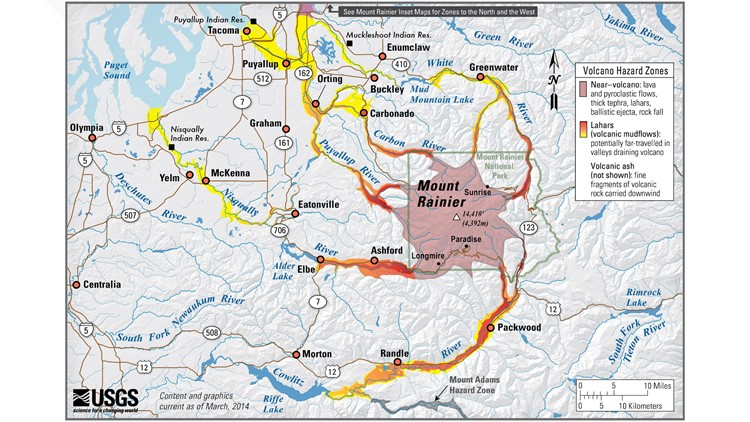 mount rainier lahar hazards map