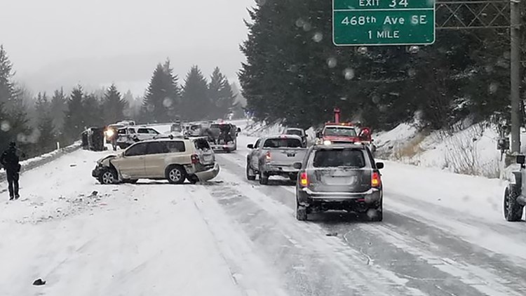 15 collisions, 3 rollovers cleared on same stretch of I-90 near North Bend