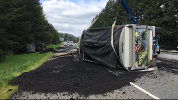 Human waste spilled onto I-90 after semi driver falls asleep, WSP says