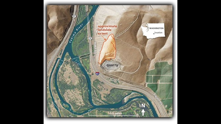 Geologists with the Washington Department of Natural Resources studying Yakima's Rattlesnake Ridge on Sunday released a map of the potential landslide risks in the area. (Photo: Yakima Valley Office of Emergency Management)