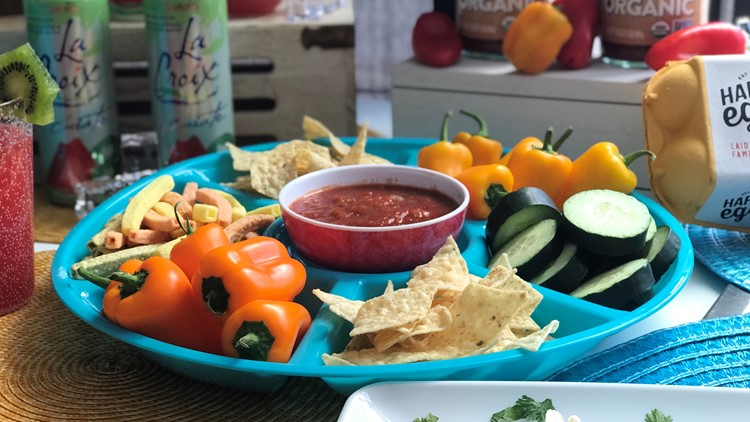 Baked chips and veggies with La Victoria Organic Chunky Salsa