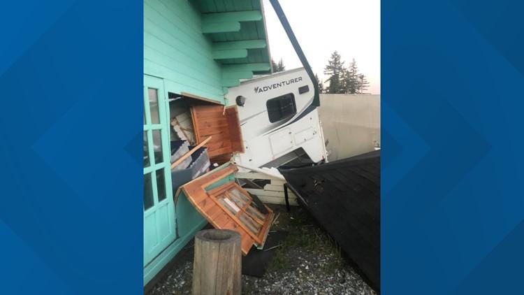 Semi-truck strikes RVs, tiny home at sales park off I-5 near Grand Mound