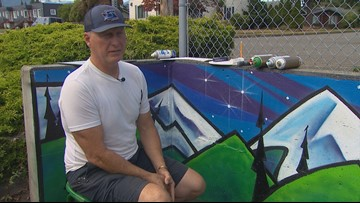 Port Angeles artist paints mural to remember mom, 3 children killed in trailer fire