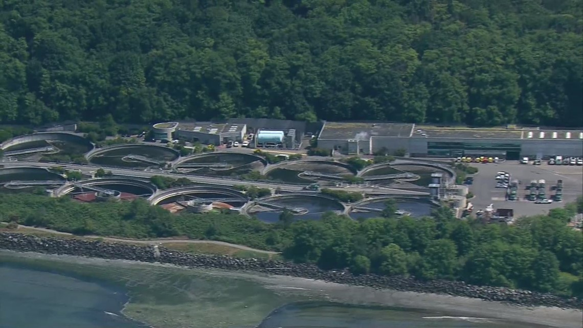Aerials of the West Point Wastewater Treatment Plant in Seattle