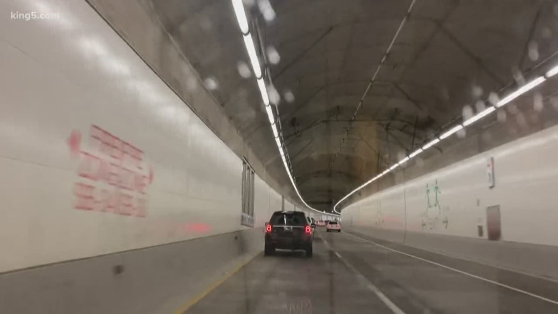 Water leaking from ceiling of Seattle's SR 99 tunnel onto southbound lanes