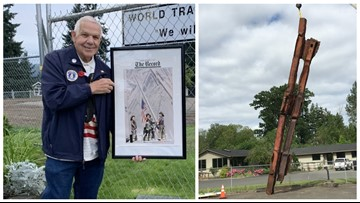 World Trade Center steel piece finally placed at Pierce County 9/11 memorial
