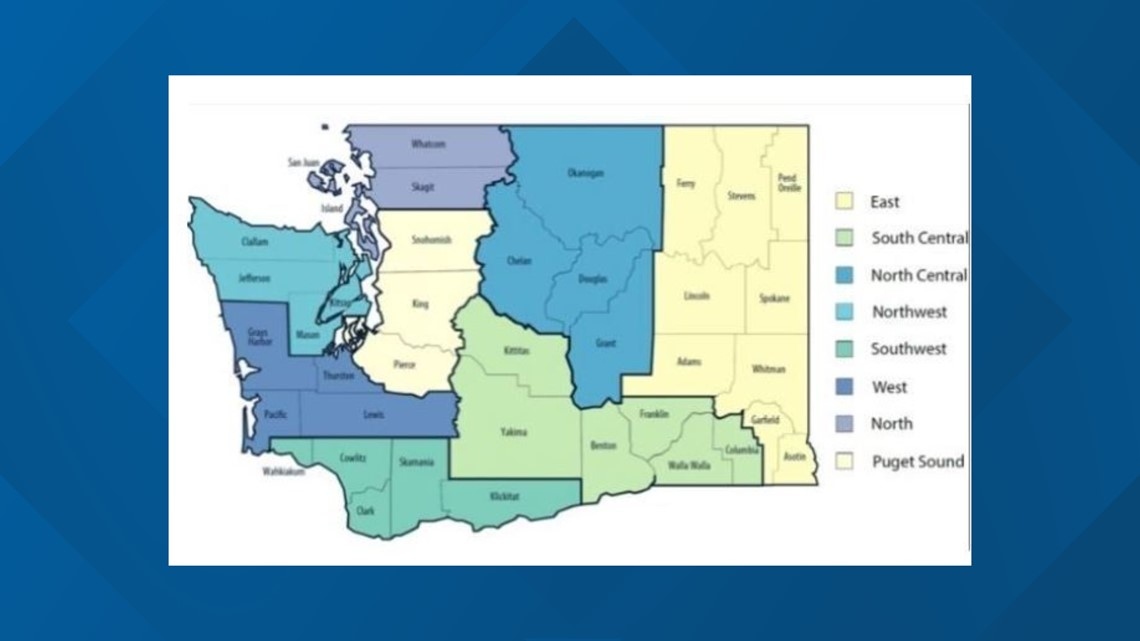 A color coded map of Washington state shows counties color coded by region in shades of blue, green, and yellow.