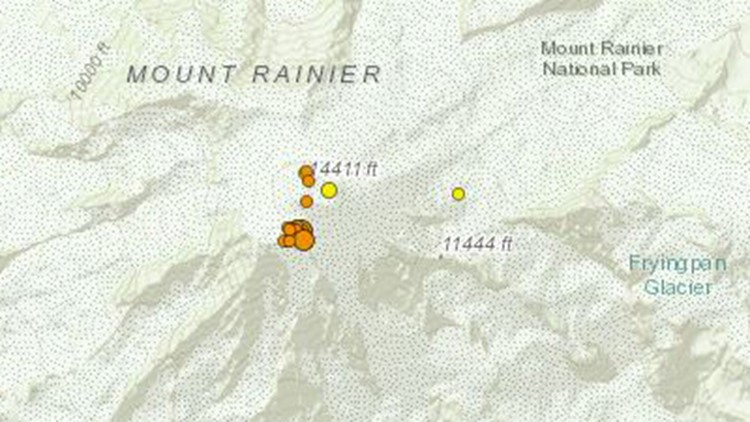 'Small swarm' of earthquakes reported at Mount Rainier
