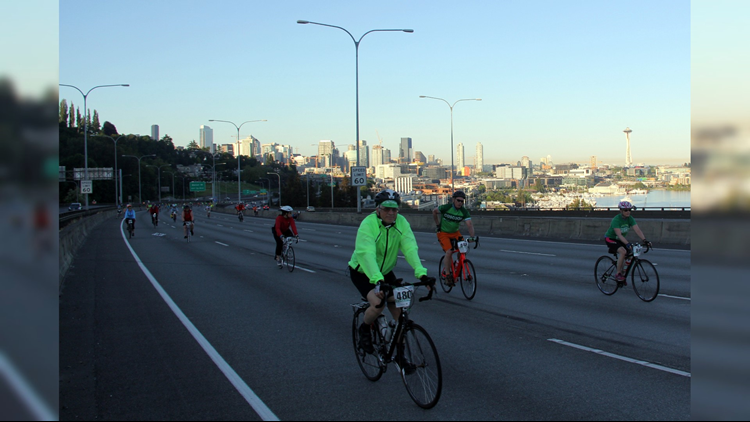 Cyclists rode along I-5 and the 520 bridge for last year's Emerald City Ride. Photo courtesy of Cascade Bicycle Club.