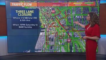 Weekend traffic closures around Puget Sound Feb. 15-16