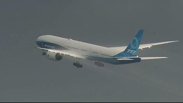 Boeing's new 777X jet takes off for its first test flight