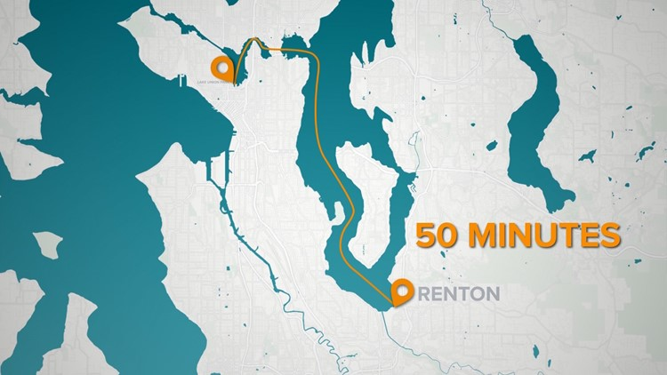 A proposed water taxi would travel from Renton to Seattle's South Lake Union neighborhood.