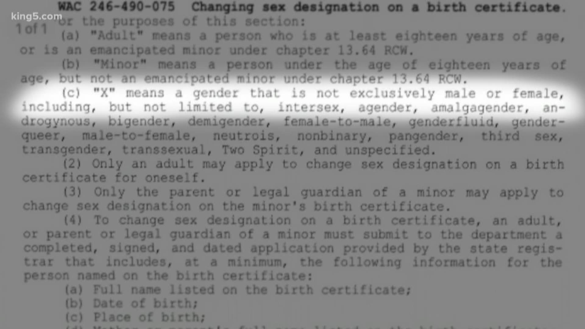 certificate birth wa proposes neutral gender option king5 king