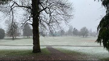 Wet snow in areas of Western Washington Sunday morning