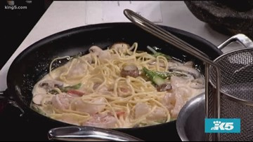 Federal Way's finest dining Pimienta Bistro shows us how to make lobster and prawn linguine - New Day Northwest