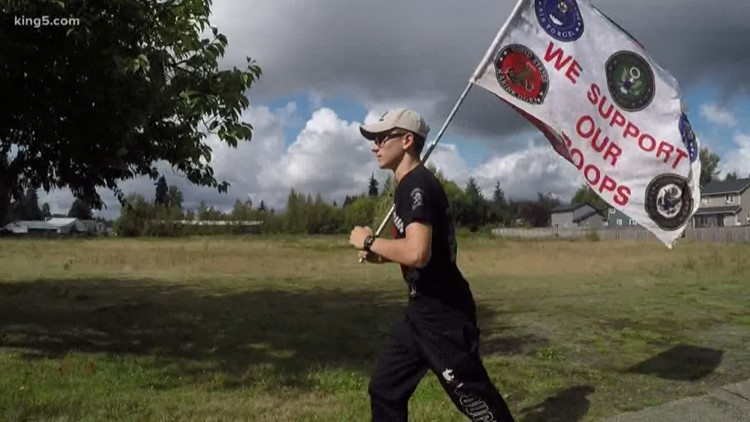 Snohomish teen runs with American flag to prevent veteran suicides