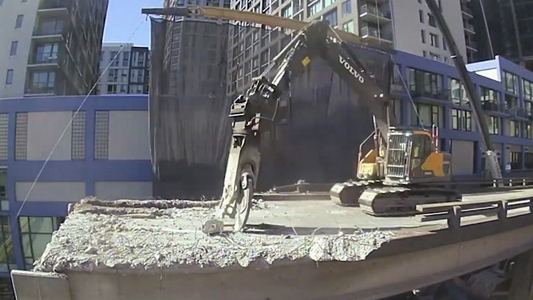 Timelapse video shows demolition of Seneca Street ramp from Seattle's viaduct