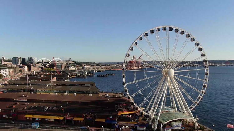 Watch KING 5 drone soar over Seattle's Great Wheel and waterfront