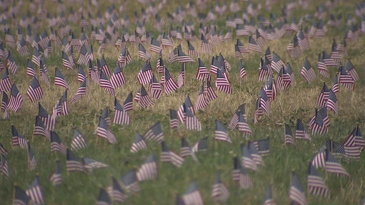 On the lawn outside the University of Washington's HUB, 7,400 small American flags represent each vet who died by suicide in just one year.