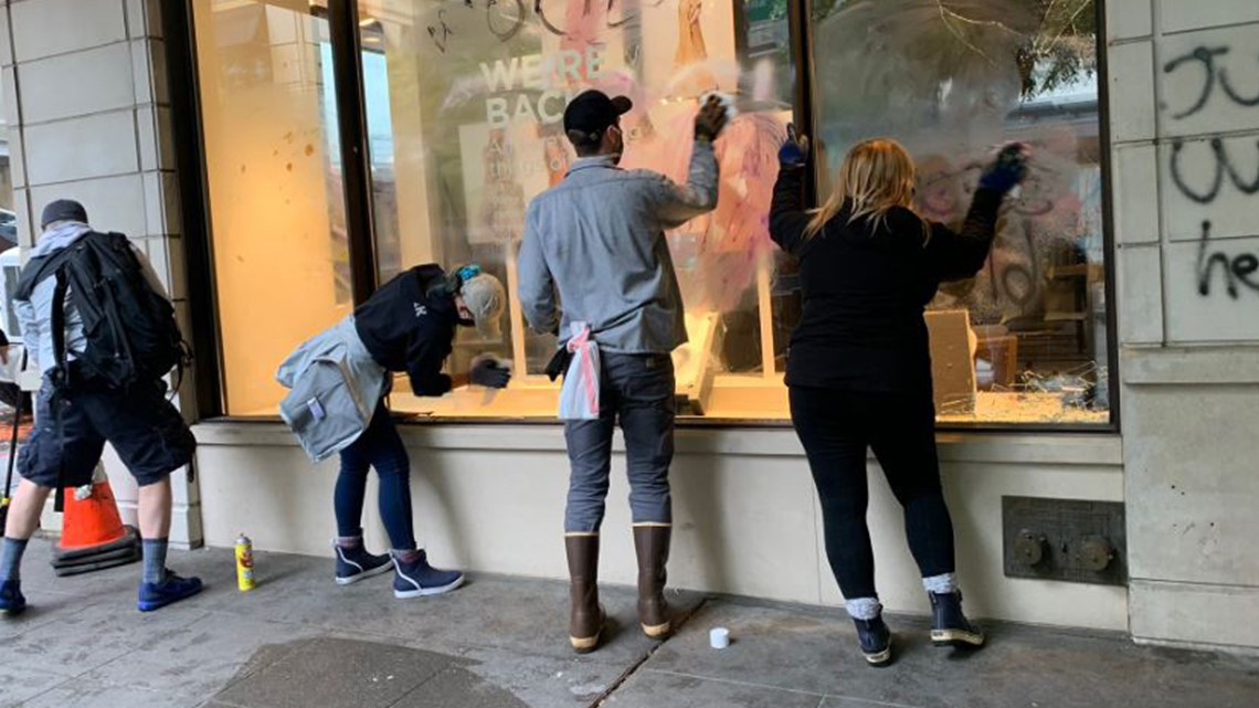 Community Rallies To Cleanup Downtown Seattle After Saturday S Violent Protests Looting King5 Com