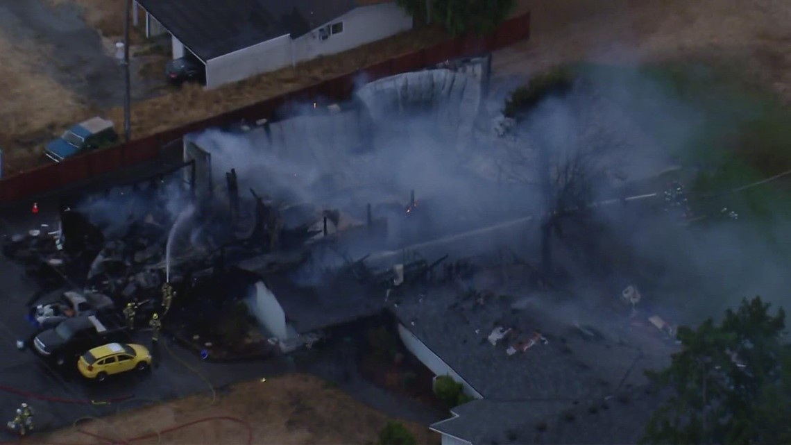 Crews battle large fire at Shady Acres Airport in Spanaway