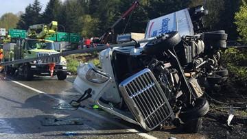 WSP: Semi-truck driver fell asleep before I-5 crash near West Seattle Bridge