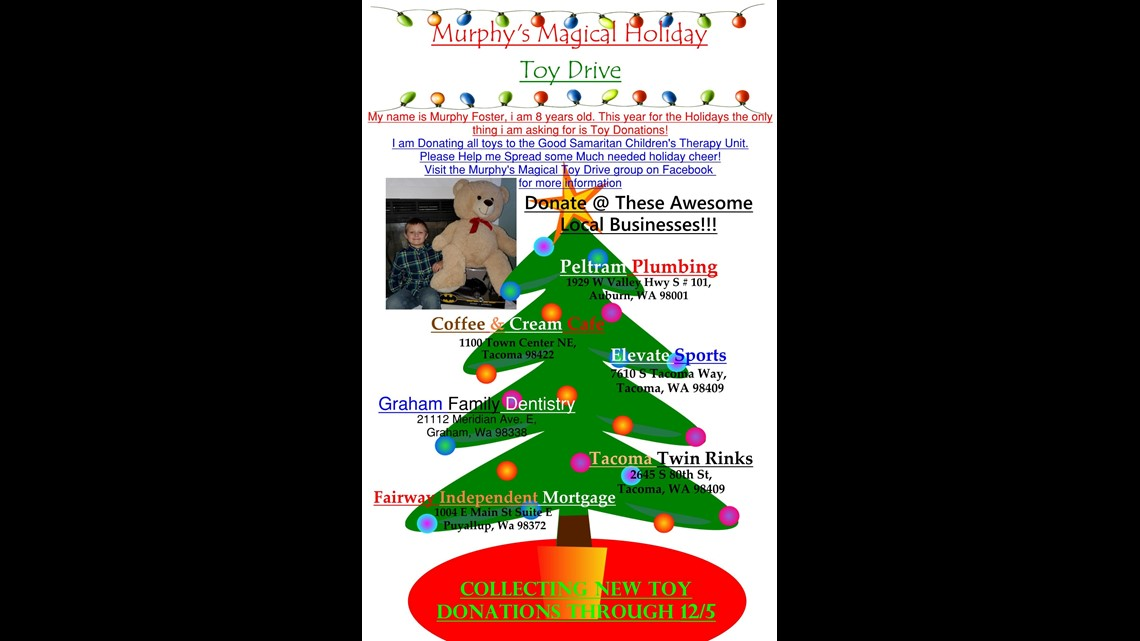 Christmas Performance For Families 2020 Tacoma Washington Graham 8 year old organizes holiday toy drive for children's