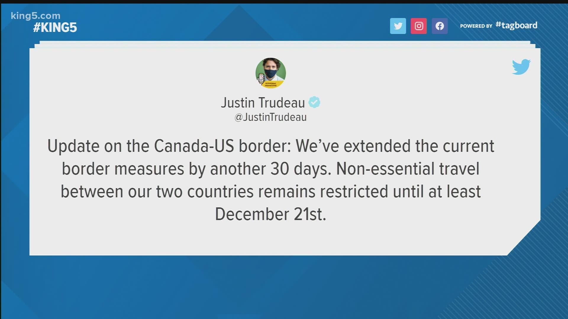 U S Canada Border To Stay Closed Through December 21 Trudeau Announces King5 Com