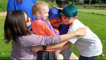 Navy dad surprises kids with homecoming at tee-ball game