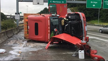 Semi-truck rollover causes miles-long backup on NB I-5 near West Seattle Bridge
