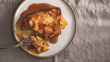 Cooking with Fruit: Rosemary Apples in Crepes with Rum Caramel Sauce - New Day NW