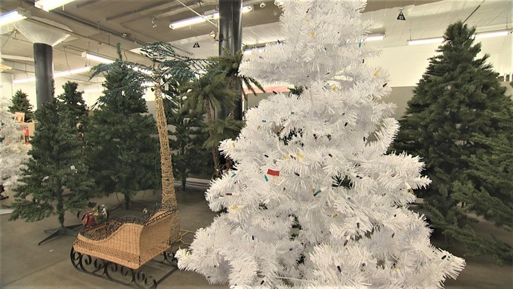 Christmas trees at Seattle Goodwill