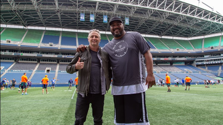 Mike McCready and Walter Jones at the 2018 Flag Football Tournament.